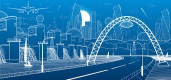 Инфраструктура города промышленная и иллюстрация энергии Гидро электростанция Запруда реки Дорога автомобиля Загоренное шоссе бел иллюстрация вектора