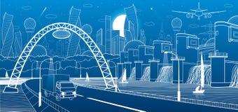 Инфраструктура города промышленная и иллюстрация энергии Гидро электростанция Запруда реки Дорога автомобиля Движение автомобиля  бесплатная иллюстрация