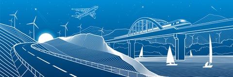 Инфраструктура города промышленная и панорама иллюстрации перехода Поезд путешествует вдоль железнодорожного моста над рекой Авто бесплатная иллюстрация