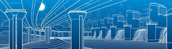 Инфраструктура города промышленная и панорама иллюстрации энергии Гидро электростанция Запруда реки Большой мост автомобиля линия Стоковые Фотографии RF