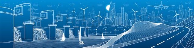 Инфраструктура города промышленная и панорама иллюстрации энергии Гидро электростанция Запруда реки Дорога автомобиля в горах бел Стоковое фото RF