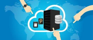 Инфраструктура IaaS как обслуживание на руке интернета облака решает отборное иллюстрация штока