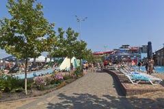 Инфраструктура ` Tiki-Tak ` аквапарк в деревне курорта Dzhemete, Anapa Стоковое Изображение