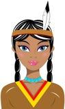 Индеец коренного американца портрета женщины красивый Стоковые Фото