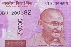 Индеец примечание две тысячи рупий с портретом Махатма Ганди Стоковая Фотография