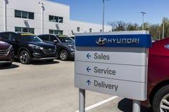 Индианаполис - около апрель 2017: Дилерские полномочия Hyundai Мотора Компании Hyundai южнокорейский автомобильный изготовитель I стоковые фотографии rf