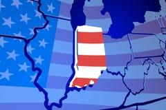 Индиана В карте США объединенной Америке национального флага Стоковые Изображения RF