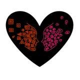2 индивидуала в сердце Принципиальная схема влюбленности Стоковая Фотография