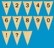 Индивидуальные вымпелы или флаги ткани с номерами Стоковые Фото