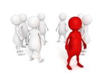 Индивидуальный человек красного цвета 3d стоя вне от толпы Стоковые Изображения