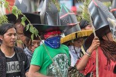 Индигенные люди kechwa на торжестве Raymi Inti в Cotacachi Стоковое Изображение