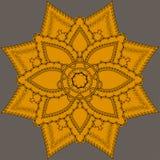 Индийская богато украшенная мандала Картина шнурка Doily круглая, предпосылка круга с много деталей, Стоковая Фотография RF