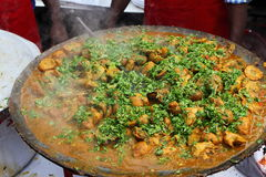 Индийская еда улицы: Блюдо цыпленка Стоковая Фотография