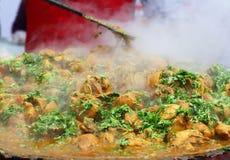 Индийская еда улицы: Блюдо цыпленка Стоковые Фотографии RF