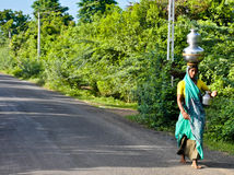индийская женщина села Стоковая Фотография