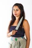 Индийская женщина с ножом Стоковая Фотография