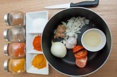 Индийская кухня - приготовление уроков карри Стоковые Изображения RF