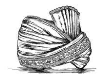 Индийская традиционная иллюстрация вектора Pagdi Headgear Стоковые Изображения