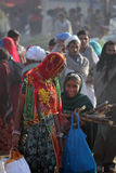 Индийские девушки идя на верблюда Pushkar справедливо Стоковое Фото