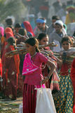 Индийские девушки идя на верблюда Pushkar Стоковое Изображение RF