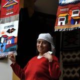 Индийские женщины продают продукты ее соткать Стоковое Фото