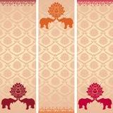 Индийские знамена вертикали лотоса и слона иллюстрация вектора