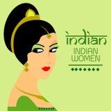 Индийские красивые женщины с зеленым вектором платья конструируют Иллюстрация штока
