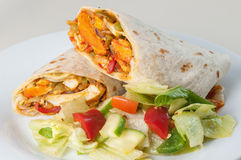 Индийские крен или twister цыпленка tandoori с бортовым салатом Стоковые Изображения RF