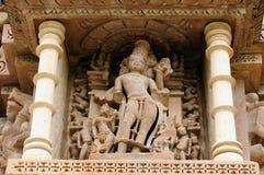 Индийские религиозные эротичные символы на висках в Khajuraho Стоковая Фотография RF