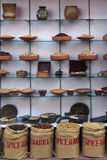 Индийские специи в окне магазина Стоковые Фото