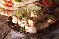 Индийские tikka цыпленка на конце-вверх протыкальников и naan горизонтально Стоковые Изображения RF