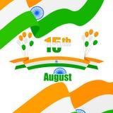 Индийские Tricolor воздушный шар и флаг Индии Стоковое Изображение