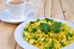 Индийский завтрак Poha стоковая фотография rf