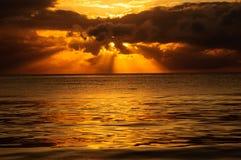 индийский заход солнца океана Стоковое Изображение