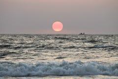 индийский заход солнца Стоковое Фото