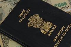 Индийский крупный план пасспорта Стоковая Фотография