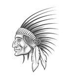 Индийский руководитель племени иллюстрация вектора