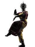 Индийский силуэт танцев танцора женщины Стоковое Изображение RF