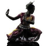 Индийский силуэт танцев танцора женщины Стоковое фото RF