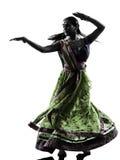 Индийский силуэт танцев танцора женщины стоковые изображения rf