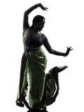 Индийский силуэт танцев танцора женщины стоковые фото
