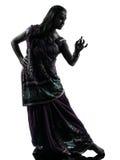 Индийский силуэт танцев танцора женщины стоковые изображения