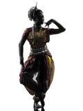 Индийский силуэт танцев танцора женщины стоковая фотография rf