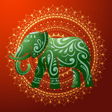 Индийский слон с этническим орнаментом Стоковые Изображения