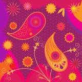 Индийский традиционный этнический дизайн картины в пинке и апельсине Пейсли, цветки Стоковое Изображение RF