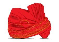 Индийский тюрбан Headgear используемый в замужеств - Vector иллюстрация Стоковые Изображения