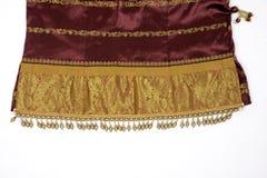 Индийский шелк с работой золота/zari Стоковые Фотографии RF