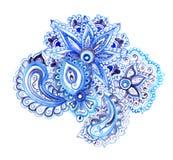 Индийский этнический флористический орнамент с восточными цветками, Пейсли Дизайн акварели декоративный Стоковые Изображения RF