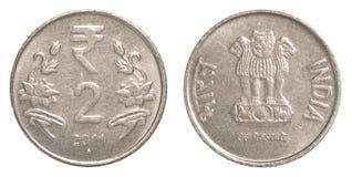 2 индийских рупии монетки Стоковое Изображение