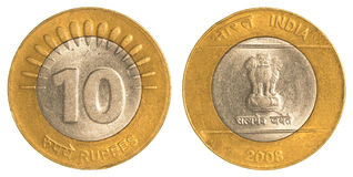 10 индийских рупий монетки Стоковая Фотография